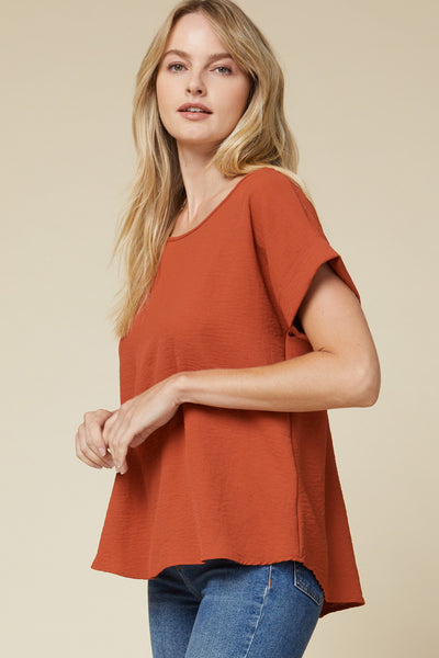 Scoop Neck Rolled Sleeve Top