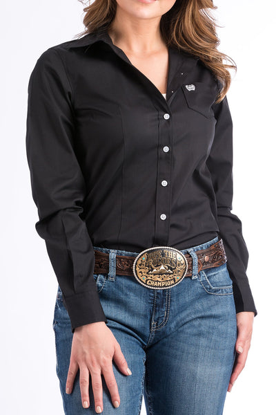 Women's Black Button Down