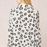 Leopard Print Long Sleeve Button Up