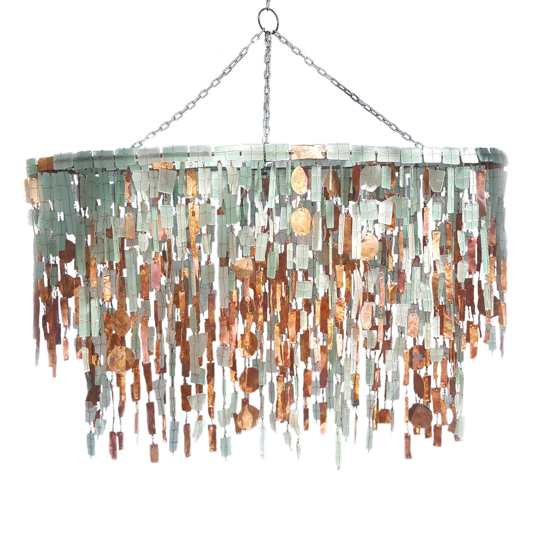 Copper and Glass Oval Chandelier