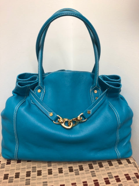 Celine Blue Grained Leather Tote Bag With Gold-Toned Harware, Michael Kors Era.