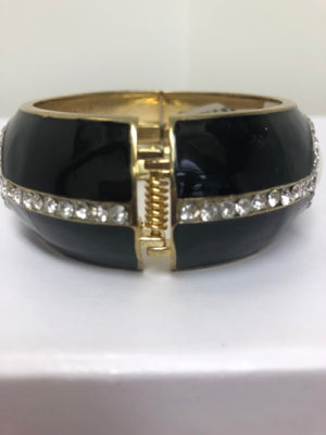 Black And White Enamel Gold Tone Cuff Bracelet With Rhinestones