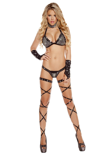 Buy Thong Back Bikini Set with Rhinestones from RomaRetailShop for 95.00 with Same Day Shipping Designed by Roma Costume, Inc. 3206-Blk-O/S