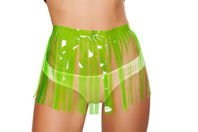 Buy Fringed Vinyl Skirt - Lime from RomaRetailShop for 15.00 with Same Day Shipping Designed by Roma Costume 3257-Lime-M