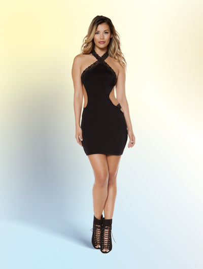 Buy Dress with Cutaway Side Details from RomaRetailShop for 29.99 with Same Day Shipping Designed by Roma Costume 3348-Blk-S