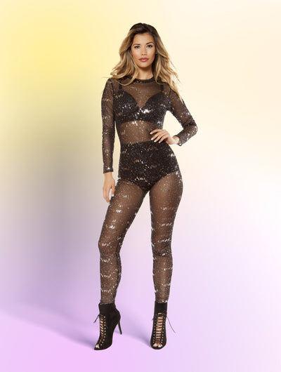 Buy Glitter Sheer Mesh Jumpsuit from RomaRetailShop for 46.99 with Same Day Shipping Designed by Roma Costume 3404-Blk-XL
