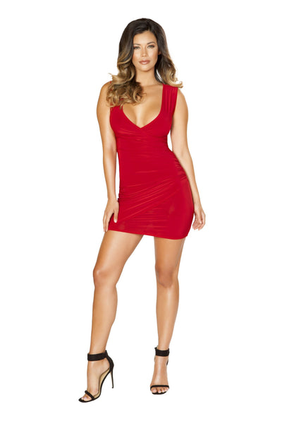 Buy Mini Dress with Overlapping Scrunch Detail from RomaRetailShop for 29.95 with Same Day Shipping Designed by Roma Costume 3516-Red-S