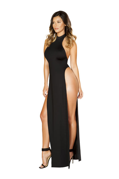 Buy Maxi Length Halter Neck Dress with High Slits from RomaRetailShop for 33.75 with Same Day Shipping Designed by Roma Costume 3529-Blk-S