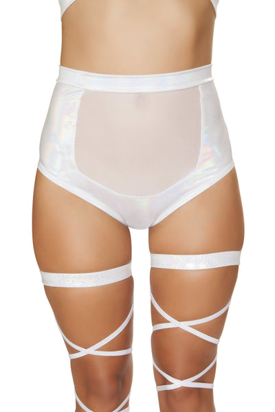 Buy 1pc High-Waisted Short with Sheer Panel - White from RomaRetailShop for 24.99 with Same Day Shipping Designed by Roma Costume 3610-Wht-S/M