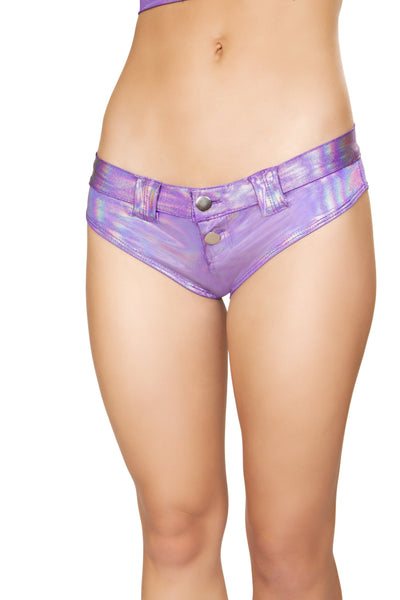 Buy 1pc Mini Booty Shorts with Belt Loop and Buckle - Purple from RomaRetailShop for 29.99 with Same Day Shipping Designed by Roma Costume 3621-PP-M/L