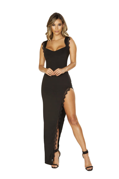 Buy Maxi Length Dress with High Slit & Eyelash Lace Trim Detail from RomaRetailShop for 33.75 with Same Day Shipping Designed by Roma Costume 3655-Blk-S