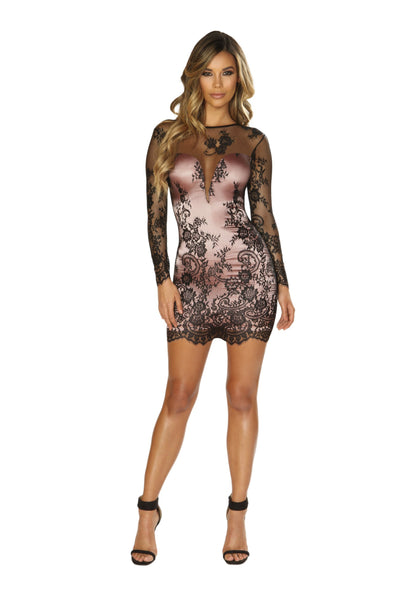 Buy Long Sleeved Eyelash Lace Dress with Pink Satin Lining from RomaRetailShop for 37.50 with Same Day Shipping Designed by Roma Costume 3658-Blk/Pink-S