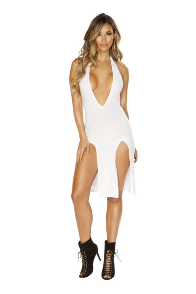 Buy Low Neck Dress with High Slit Detail from RomaRetailShop for 29.25 with Same Day Shipping Designed by Roma Costume 3660-Wht-S
