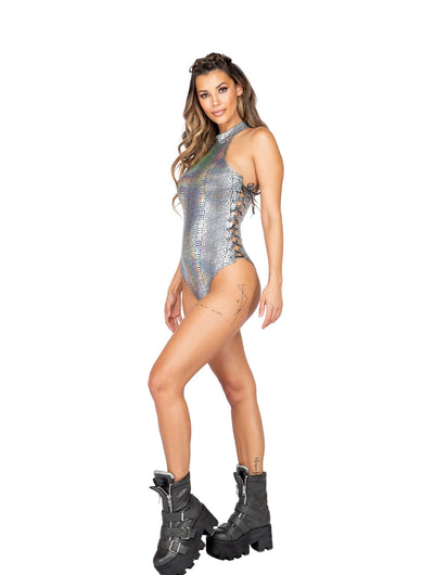 Buy 1pc Halter Neck Snakeskin Romper with Lace-Up Detail from RomaRetailShop for 54.99 with Same Day Shipping Designed by Roma Costume 3833-Slvr-S