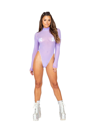 Buy 1pc Long Sleeved Sheer Romper from RomaRetailShop for 34.99 with Same Day Shipping Designed by Roma Costume 3864-Lav-S