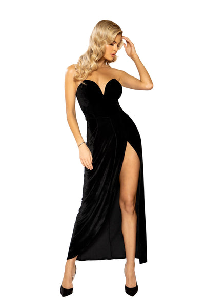 Buy Maxi Length Velvet Dress with V-Wire Detail from RomaRetailShop for 43.99 with Same Day Shipping Designed by Roma Costume 3946-Blk-S