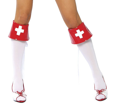 Buy Red and White Nurse Boot Cuffs from RomaRetailShop for 7.50 with Same Day Shipping Designed by Roma Costume 4007B-AS-O/S