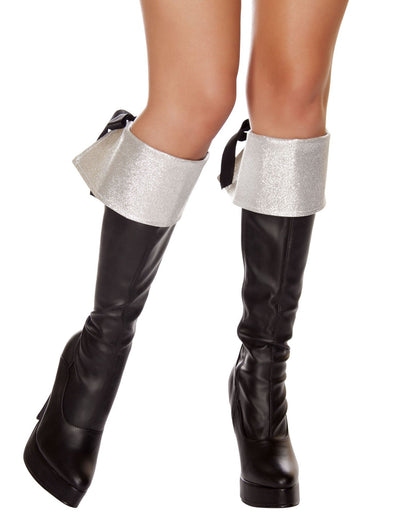 Buy Pair of Silver Glitter Boot Cuffs from RomaRetailShop for  with Same Day Shipping Designed by Roma Costume, Inc.