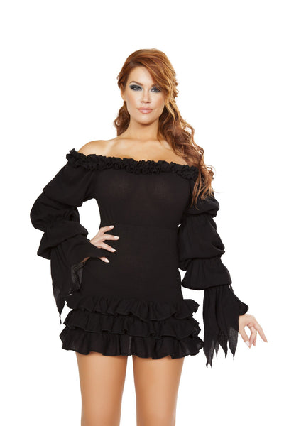 Buy Ruffled Pirate Dress with Sleeves from RomaRetailShop for 22.50 with Same Day Shipping Designed by Roma Costume 4770-Blk-S