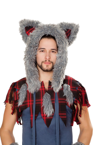 Buy Wolf Hoodie from RomaRetailShop for 22.50 with Same Day Shipping Designed by Roma Costume 4804-Grey/Red-O/S