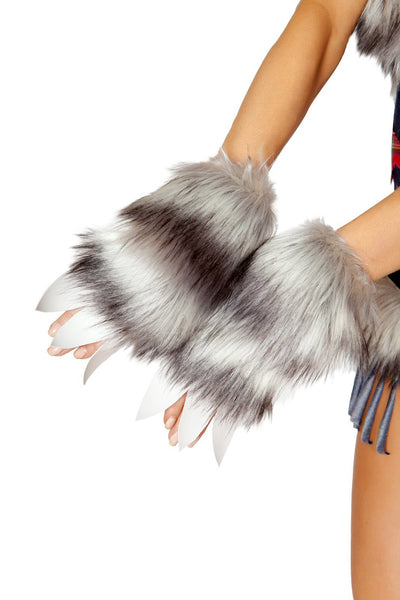 Buy Pair of Wolf Gloves from RomaRetailShop for 15.00 with Same Day Shipping Designed by Roma Costume 4806-Grey-O/S