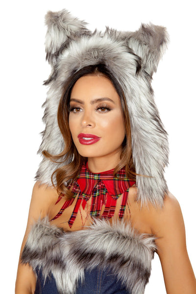 Buy Wolf Hood from RomaRetailShop for 22.50 with Same Day Shipping Designed by Roma Costume 4832-Grey-O/S