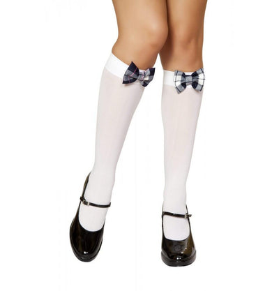 Buy Knee High Stocking with Blue Plaid Bow from RomaRetailShop for 4.50 with Same Day Shipping Designed by Roma Costume STC212-AS-O/S