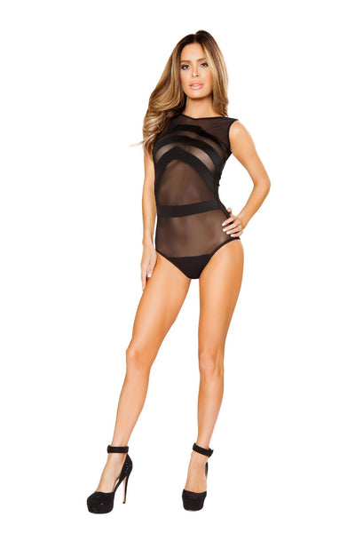Buy Mesh Teddy with Stripe Detail - Black from RomaRetailShop for 18.99 with Same Day Shipping Designed by Roma Costume LI127-Blk-M/L