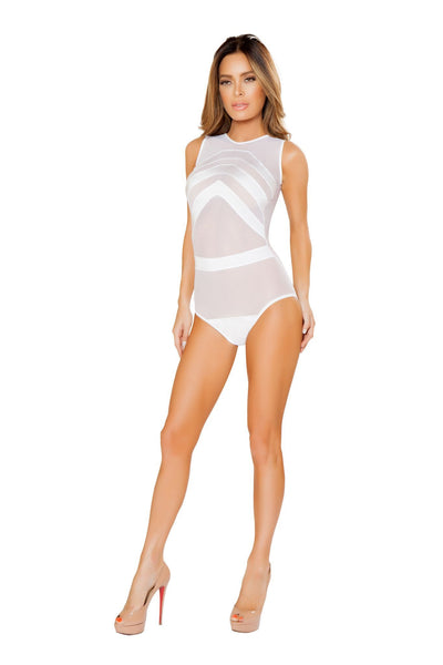 Buy Mesh Teddy with Stripe Detail - White from RomaRetailShop for 18.99 with Same Day Shipping Designed by Roma Costume LI127-Wht-S/M