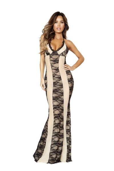 Buy Two-Tone Gown Dress from RomaRetailShop for 45.00 with Same Day Shipping Designed by Roma Costume LI204-Nude/Blk-S/M