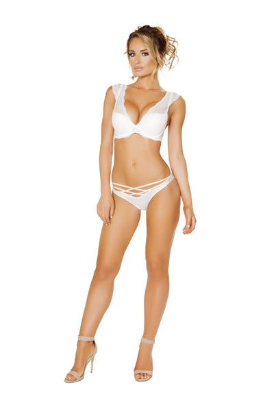 Buy Elegant Bra Set - White from RomaRetailShop for 29.99 with Same Day Shipping Designed by Roma Costume LI242-Wht-M/L