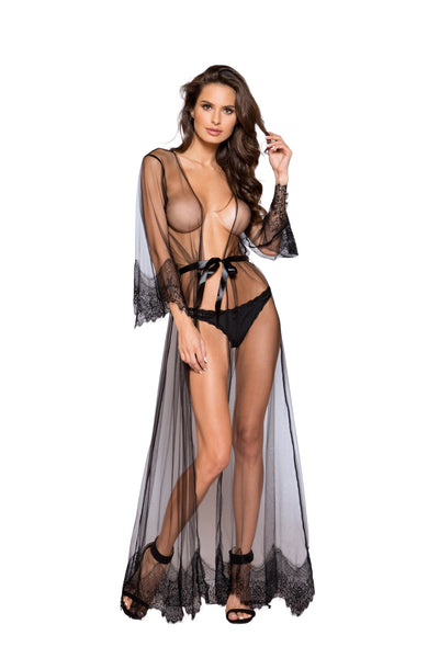 Buy Elegant Sheer Maxi Length Robe with Eyelash Lace Detail from RomaRetailShop for 55.99 with Same Day Shipping Designed by Roma Costume LI255-Blk/Blk-O/S