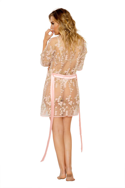 Buy Floral Robe from RomaRetailShop for 38.49 with Same Day Shipping Designed by Roma Costume, Inc. LI311-Pink-O/S