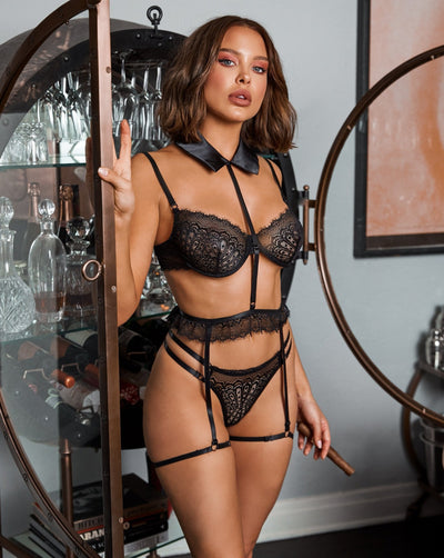 Buy 3pc Collared Garter Set from RomaRetailShop for 42.00 with Same Day Shipping Designed by Roma LI334-Blk-S