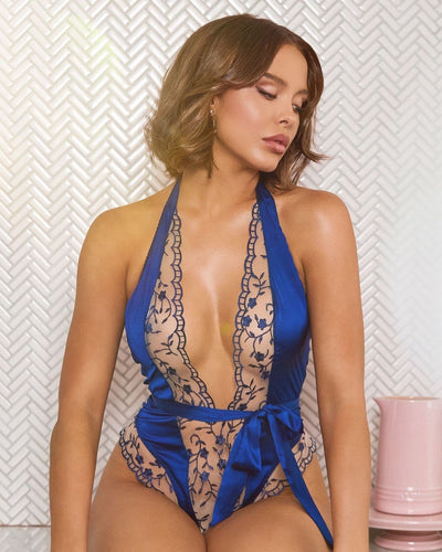 Buy Low Plunge Floral Embroidery & Satin Teddy from RomaRetailShop for 44.00 with Same Day Shipping Designed by Roma LI343-Blue-S