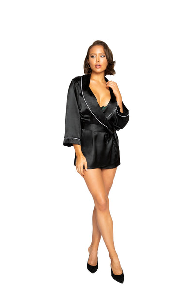 Buy Elegant Satin Collared Robe from RomaRetailShop for 45.00 with Same Day Shipping Designed by Roma LI365-Blk-O/S