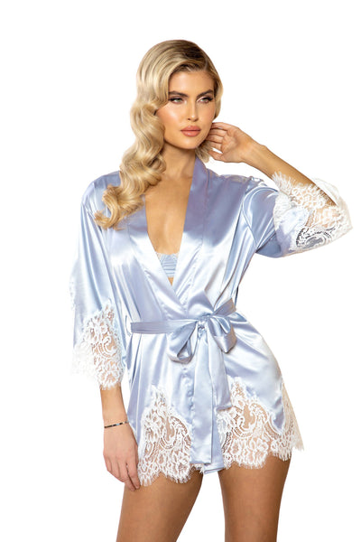 Buy 1pc Elegant Cutout Eyelash Lace and Satin Robe from RomaRetailShop for 48.99 with Same Day Shipping Designed by Roma Costume LI395-Slvr/Wht-O/S