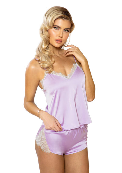 Buy 2pc Satin Lounge Set from RomaRetailShop for 35.99 with Same Day Shipping Designed by Roma Costume LI397-Lav/Wht-S