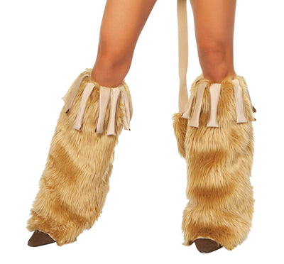 Buy Pair of Fur Leg Warmers with Suede Fringe from RomaRetailShop for  with Same Day Shipping Designed by Roma Costume