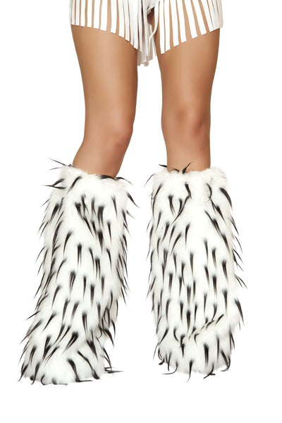 Buy Pair of Fur Leg Warmers with Contrast Colored Tips from RomaRetailShop for 36.00 with Same Day Shipping Designed by Roma Costume LW4473-Blk/Wht-O/S