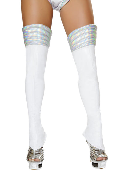 Buy Pair of Leggings with Padded Silver Top from RomaRetailShop for 19.99 with Same Day Shipping Designed by Roma Costume LW4739-Wht/Slvr-O/S