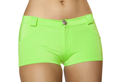 Buy Button Front Shorts with Pockets - Lime from RomaRetailShop for 29.99 with Same Day Shipping Designed by Roma Costume SH3066-Lime-S/M
