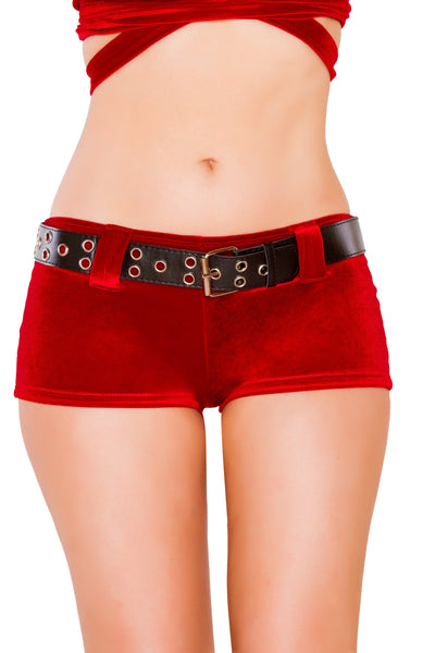 Buy Red Velvet Shorts with Belt from RomaRetailShop for 18.99 with Same Day Shipping Designed by Roma Costume SH3229-AS-S/M