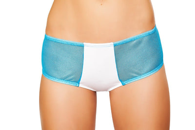 Buy Two Tone Shorts with Sheer Sides - White/Turquoise from RomaRetailShop for 20.00 with Same Day Shipping Designed by Roma Costume SH3268-Wht/Turq-S/M