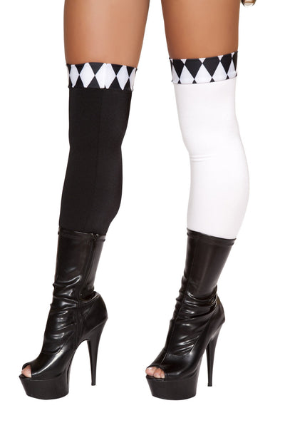 Buy Pair of Black and White Legging Stockings from RomaRetailShop for 9.99 with Same Day Shipping Designed by Roma Costume ST4673-AS-O/S