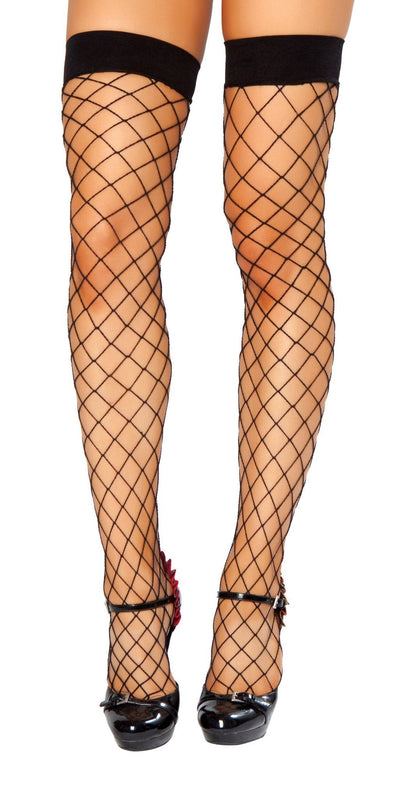 Buy Thigh High Fishnet Stockings from RomaRetailShop for 3.99 with Same Day Shipping Designed by Roma Costume STC207-Blk-O/S