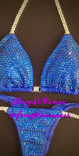 Load and play video in Gallery viewer, Blinged to the Max Blue Swarovski Crystal Competition Bikini