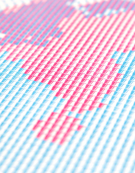 Detail of Below the Sea letterpress data map of the Netherlands in magenta and cyan.