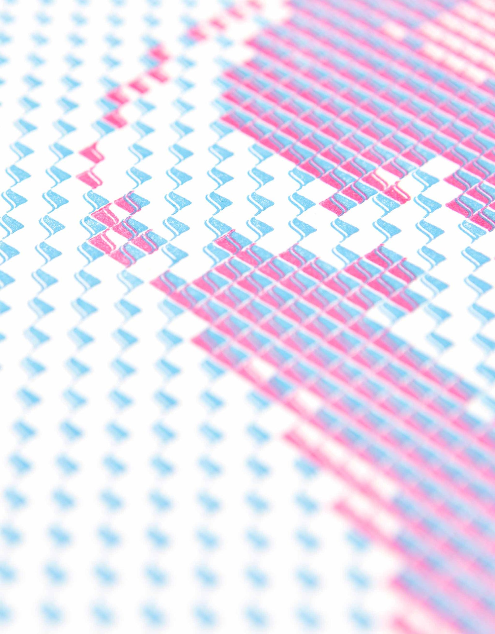 Detail of Below the Sea Letterpress Print. Cyan and magenta Kaba ornaments.