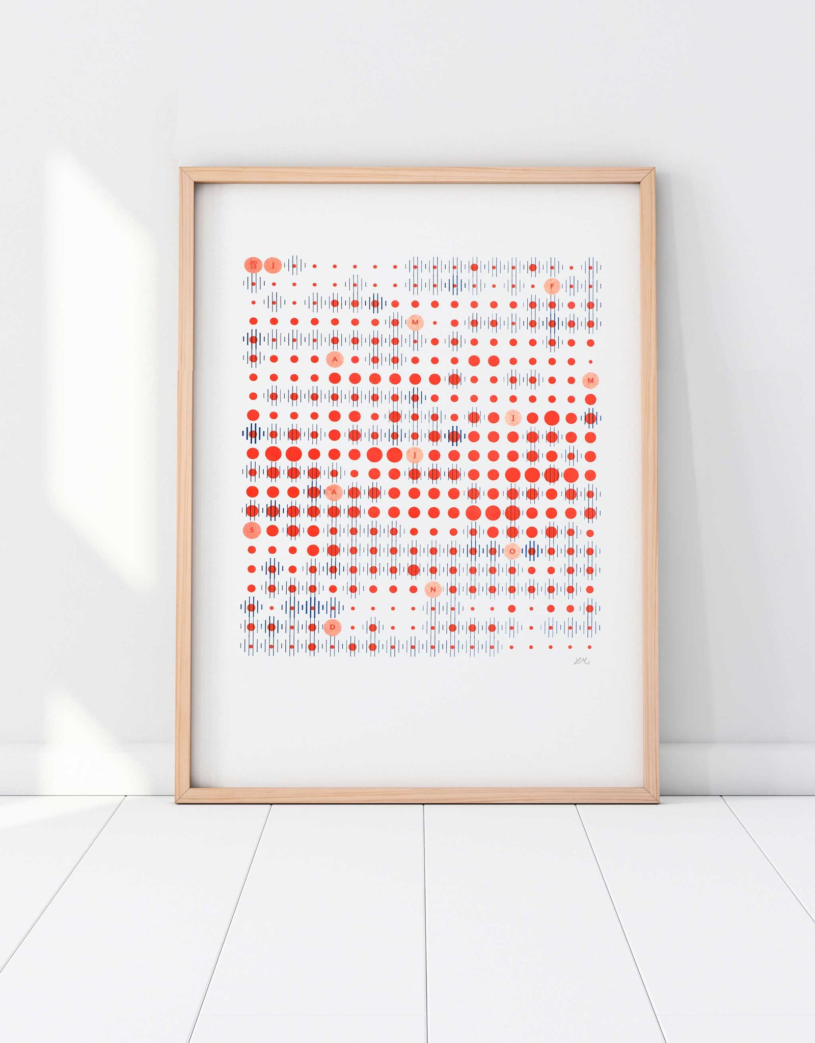 Framed A3 riso data print poster of Amsterdam weather in blue and red grid pattern
